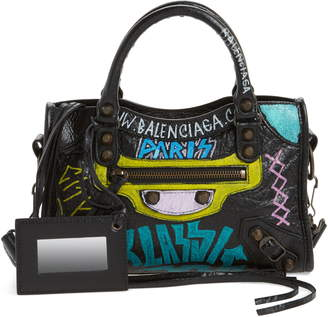 cd7dfa8a723 Balenciaga Mini City Graffiti Leather Tote