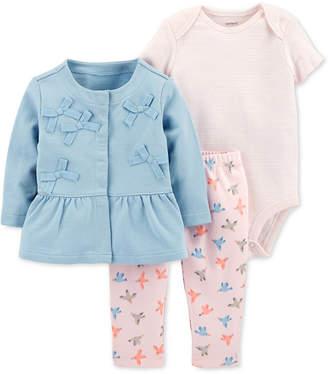 Carter's Baby Girls 3-Pc. Cotton Bows Jacket, Striped Bodysuit & Printed Pants Set