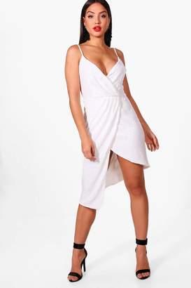 boohoo Sequin Wrap Front Midi Dress