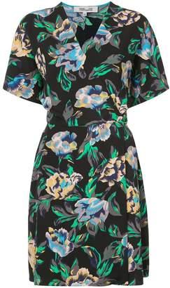 Diane von Furstenberg Short-sleeve v-neck flare mini dress