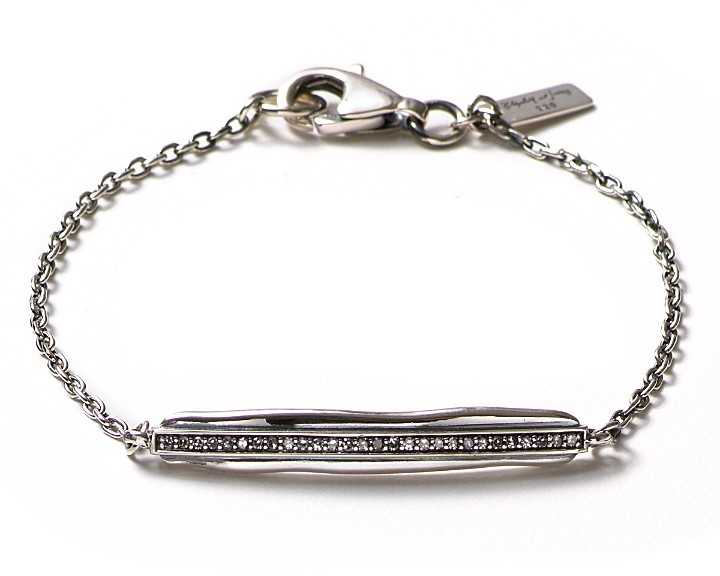 Elizabeth and James Sterling Silver Bar ID Bracelet with Diamonds