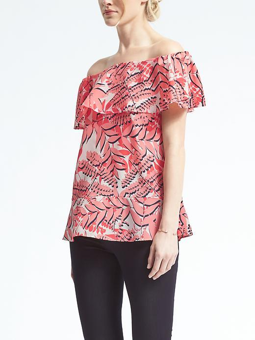 Banana Republic  Easy Care Palm Print Off-Shoulder Top