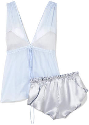 Three Graces London - Nellie And Arie Cotton-voile And Silk-satin Pajama Set - Light blue