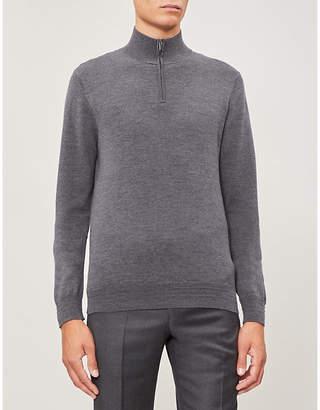 Gieves & Hawkes Turtleneck half-zip wool jumper