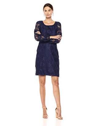 Nine West Women's Lace Blouson Sleeve T-Shirt Dress