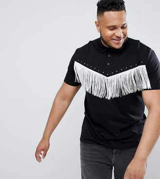 Asos Design DESIGN Plus relaxed polo shirt with fringing in black