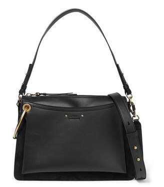 Chloé Roy Medium Leather And Suede Shoulder Bag - Black