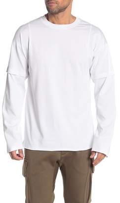 Helmut Lang Raw Hem Paneled Long Sleeve T-Shirt
