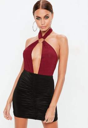 Missguided Burgundy halter neck ring detail bodysuit, Red