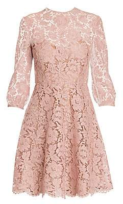 Valentino Women's Long Sleeve Lace Fit-&-Flare Dress