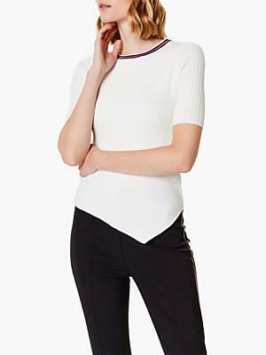 Karen Millen Sporty Asymmetric Top, White/Multi