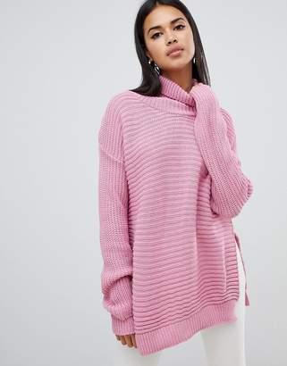Missguided roll neck step hem sweater