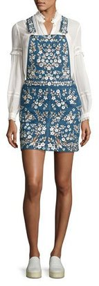 Needle & Thread Floral-Embroidered Denim Pinafore Dress, Washed Indigo $499 thestylecure.com