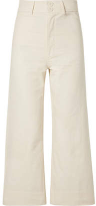 Apiece Apart Merida Cropped Cotton-canvas Wide-leg Pants - Cream