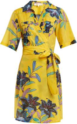 Buy Cheap How Much Discount Codes Really Cheap Floral-print Cotton And Silk-blend Gauze Mini Wrap Dress - Marigold Diane Von Fürstenberg Buy Cheap Shop For Cheap Free Shipping New Styles ynRLJw4