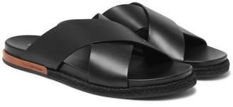 Ermenegildo Zegna Taormina Leather Sandals - Men - Black