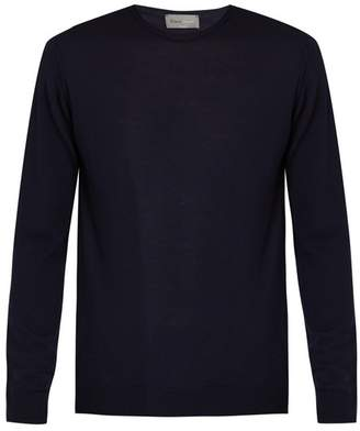 Kilgour Crew Neck Merino Wool Sweater - Mens - Navy