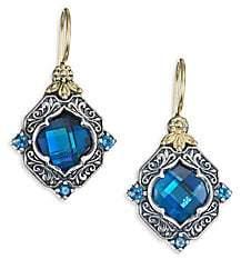 Konstantino Women's Thalassa London Blue Topaz, Sterling Silver& 18K Yellow Gold Drop Earrings