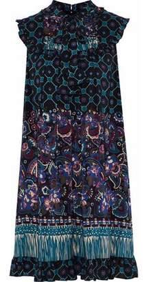 Anna Sui Ruffle-Trimmed Printed Silk Mini Dress