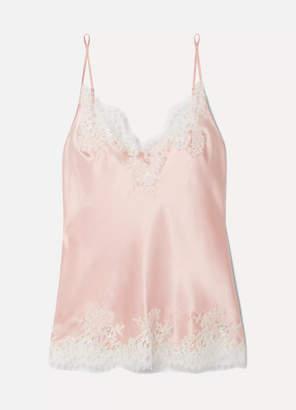 I.D. Sarrieri Hôtel Particulier Chantilly Lace-trimmed Silk-blend Satin Camisole - Pastel pink
