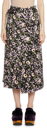 Marni Wrap Tie-Waist Marken Abstract-Print Cotton Sateen Skirt