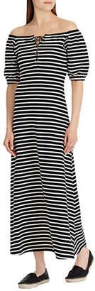 Lauren Ralph Lauren Striped Lace-Up A-Line Maxi Dress