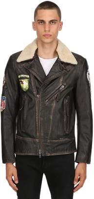 Vintage Effect Leather Biker Jacket