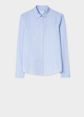 Paul Smith Women's Slim-Fit Pale Blue Cotton Shirt With 'Paul's Sketchbook' Print Cuff Lining