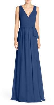 Joanna August Newbury Gathered Sleeve Chiffon Wrap Gown