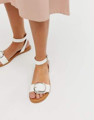 Asos Design DESIGN Flora flat sandals in white