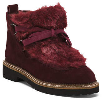 Velour Lace Up Suede Booties