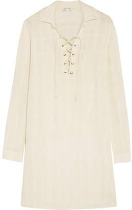 Splendid Lace-up Knitted Mini Dress - Beige