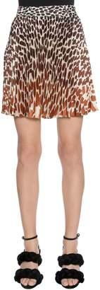 Marco De Vincenzo Leopard Printed Plissé Satin Skirt