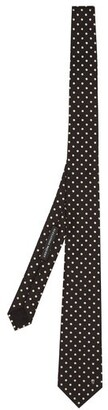 Alexander McQueen Polka Dot Embroidered Tie - Mens - Black