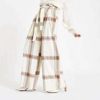 River Island Cream check paperbag waist wide leg pants