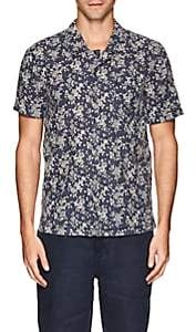 Blank NYC Blanknyc Men's Floral Linen-Cotton Camp Shirt-Blue Size Xl