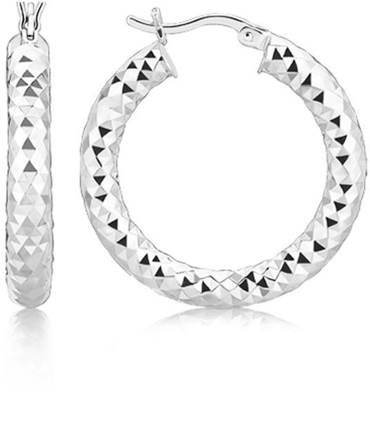 Ice Sterling Silver Thick Rhodium Plated Faceted Design Hoop Earrings