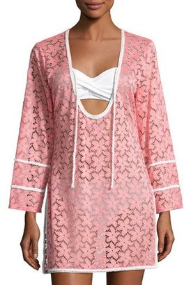 Letarte Floral Lace Tunic Coverup, Pink $228 thestylecure.com