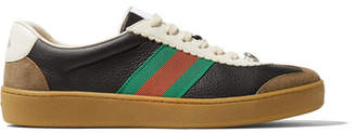 Gucci G74 Textured-leather And Suede Sneakers - Black