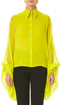 6ba948ea5a Carolina Herrera Wing-Sleeve Button-Front Blouse