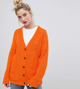 Daisy Street Boyfriend Cardigan In Cable Knit