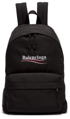 Balenciaga Explorer Logo Embroidered Coated Canvas Backpack - Mens - Black
