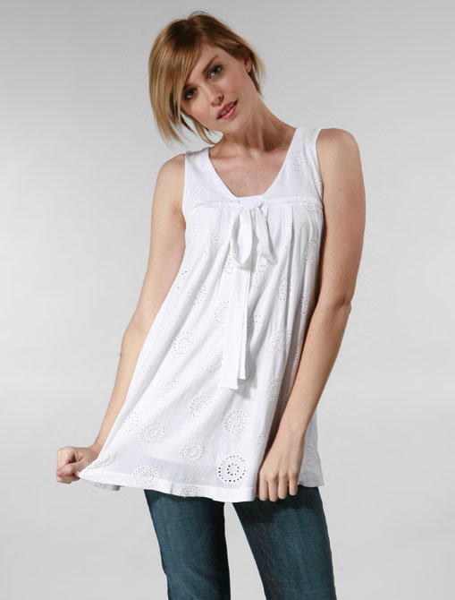 Ella Moss Holly Bow Top in White