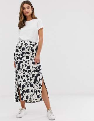 Asos Design DESIGN bias satin midi skirt with split in mono splodge print