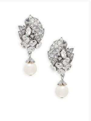 Swarovski Faux Pearl and Crystal Cluster Earrings