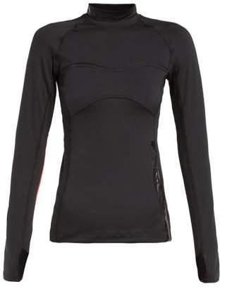 adidas by Stella McCartney Run Logo Print Stretch Jersey Top - Womens - Black Pink