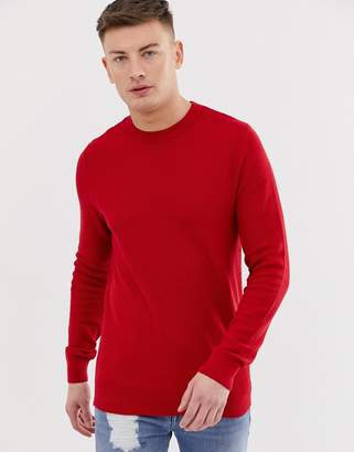 New Look honeycomb knit sweater in red