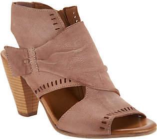 Miz Mooz Leather Peep-Toe Heeled Sandals -Moonlight