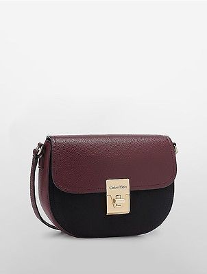 Calvin KleinCalvin Klein Womens Pebble Leather Suede Crossbody Bag Rum Raisin/Black