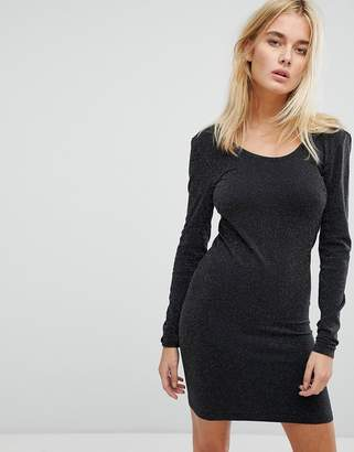 Noisy May Long Sleeve Glitter Mini Dress